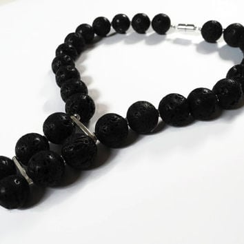 Black silver necklace, handmade beaded choker necklace of lavastone and sterling silver finished with a magnetic clasp