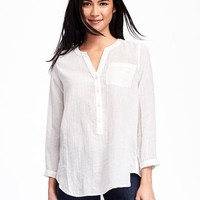 Split-Neck Gauze Popover for Women | Old Navy
