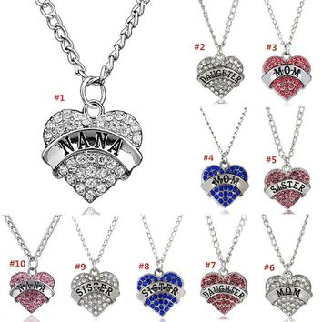 1PC Women Fashion Crystal Heart Pendant Chain Necklace NANA MOM DAUGHTER SISTER Letters Carved