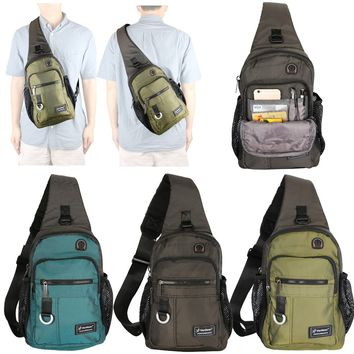 Nylon Sling Bag Backpack Travel Bag School Pack Chest Bag Hiking Bicycle Pouch iPad Bag for Men Women