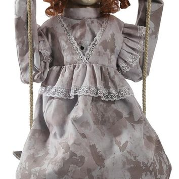 Swinging Decrepit Doll Animated haunted prop
