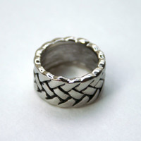 Vintage Men's Ring Silver Tone Braided Design