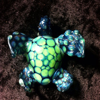 Slyme and Electric Blue Velvet Honeycomb Blown Glass Turtle