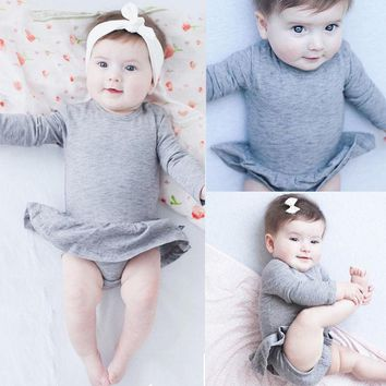 Newborn kids Romper Infant Baby Girls Skirt Romper Jumpsuit Outfits Sunsuit Clothes 2016 NEW Fashion