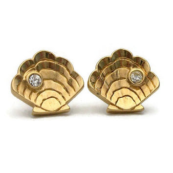 1990 Avon Island Scallop Shell Pierced Earrings - Small Shell Stud Earrings with Clear Rhinestone - 90s Vintage Avon Surgical Steel Posts