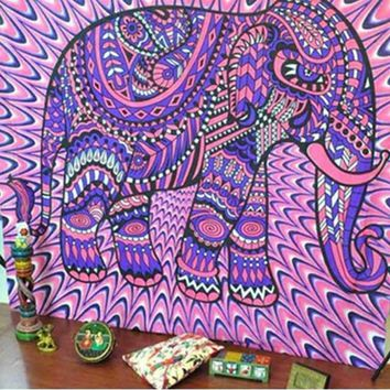 Boho Hippie Mandala Pink Elephant Tapestry Bedspread,  Beach Throw, Yoga Mat,  Home Decor 150*130c Polyester