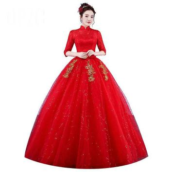 Wedding Dresses  High Neck Style Red Bride Princess Lace with Gold Embroidery