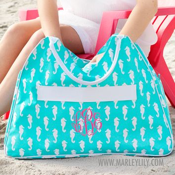 Monogrammed Aqua Seahorse Beach Bag | Custom Beach Gifts | Marley Lilly