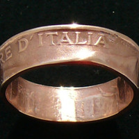 Copper Coin Ring 1922 Italy 10 Centesimi  by GlobalCoinJewelry