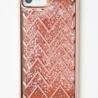 Rose Gold Chevron Striped Glitter Phone Case For iPhone 6/7/8