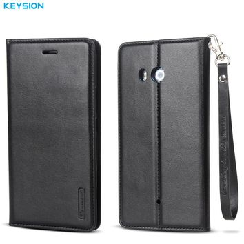 KEYSION Flip Case For HTC U11 soft TPU + PU Leather Wallet Full-Body Protective Stand Card Holder Lanyard Cover for HTC U11