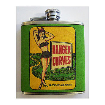 Pin up girl hip flask retro vintage 1950's rockabilly pinup kitsch