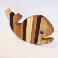 Mini Whale Cutting Board Handcrafted from Mixed Hardwoods