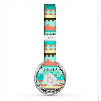 The Teal & Gold Tribal Ethic Geometric Pattern Skin for the Beats by Dre Solo 2 Headphones