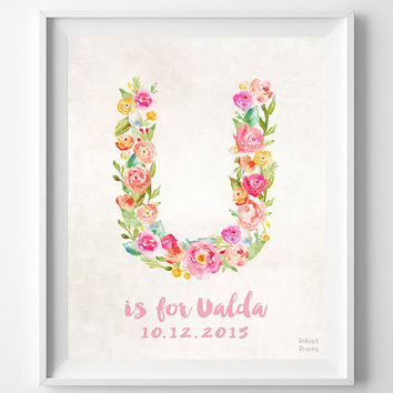 Custom Name, Print, Ualda, Nursery Art, Personalized, Baby Shower, New Born, Uma, Ursula, Uri, Unique, Gift, U, Baby, Initial, Girl