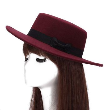 Brand New Wool Boater Flat Top Hat For Women's Felt Wide Brim Fedora Hat Laday Prok Pie Chapeu de Feltro Bowler Gambler Top Hat