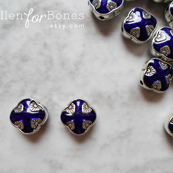 1pc ∙ Tibetan Beads Cobalt Blue Enamel Diamond Ethnic Spacers Nepal Silver Jewelry Supplies