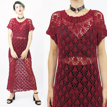 Vintage Crochet Knit Dress 90s  Boho Knitted Dress Granny Burgundy Dark Red Hand Knitted Dress Grunge Crochet Knit Sweater Dress (S/M)
