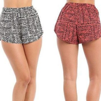 Women Aztec Print High Waist Lightweight Track Shorts Running Workout