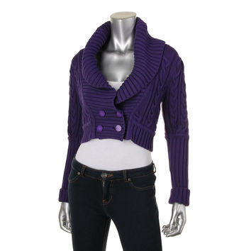 Catherine Malandrino Womens Cable Knit Button Front Cardigan Sweater
