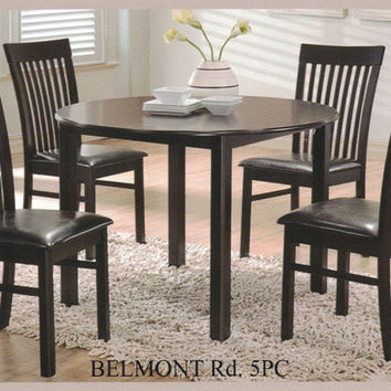 "Casa Blanca CB-Belmont-RD-5PC 5 pc Belmont espresso finish wood 42"" round dining table set"