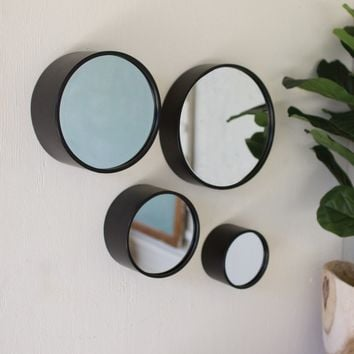 Set of 4 Round Metal Wall Mirrors - Antique Black