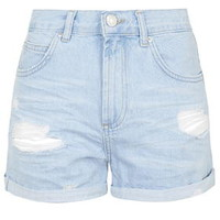 MOTO Bright Blue Ripped Rosa Shorts - Light Blue