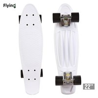 "22"" Retro Mini Skateboard Cruiser Style Complete Deck Plastic Skate Board White"