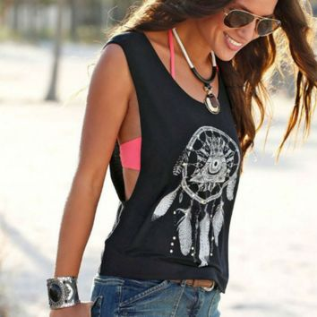 Fashion loose black and white sunflower eye print vest casual women tops