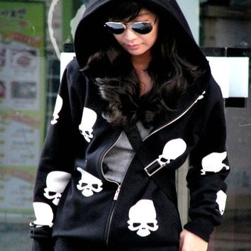 Casual Long Sleeve Hooded Zipper Cotton Skulls Womens Hoodies (Color: Black) = 1931449028