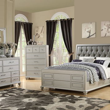 4 pc Sheila II collection silver faux leather tufted upholstered queen bed set
