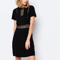 Lost Ink Flippy Dress with Lace Insert at asos.com