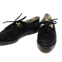 Black 90s Shoes 6.5 / 90s minimal minimalist black suede shoes / 1990s dress shoes / soft grunge club kid 90s flats by Joan & David size 6.5