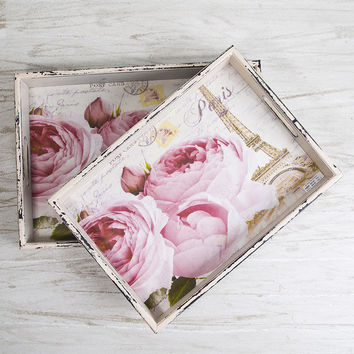 Home Essentials and Beyond Romantic Rose Tray - Set of Two | zulily