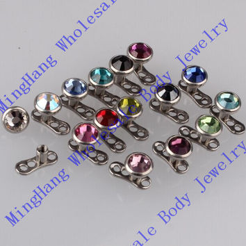 Mixeds 15 Colors Gem 316L Stainless Steel Dermal Anchor Piercing Skin Diver Piercing Micro Dermal Jewelry Body
