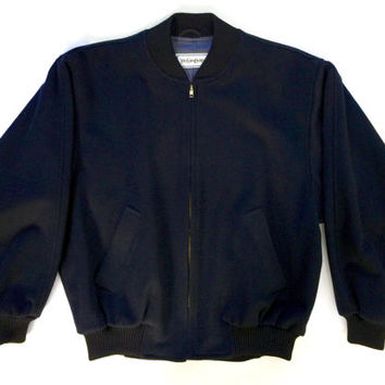 YVES SAINT LAURENT!!! Vintage 1980s 'Yves Saint Laurent' men's oversized navy wool zip front bomber with pockets and ribbed trims