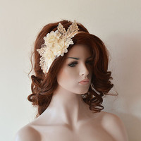 Wedding  Headband,  Champagne Lace Vintage İnspired Headband, Rustic Bridal Headband, Bridal Accessories, Wedding Accessories