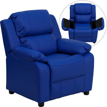 Deluxe Heavily Padded Contemporary Blue Vinyl Kids Recliner with Storage Arms