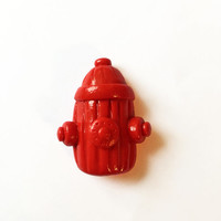 Fire Hydrant Magnet - Polymer Clay Magnet - Kitchen Magnet - Fire Department Magnet - Fireman Magnet - Refridgerator Magnet - Red Magnet