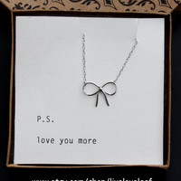 Sterling silver simple bow necklace, Silver bow, silver ribbon pendant, bow tie pendant, Beautiful gift ideas for her, Valentines Day, Love