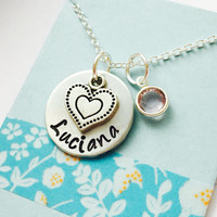 Name Necklace, Personalized Name Necklace, Personalized Heart Necklace, Custom Name Necklace, Heart Charm Necklace, Girls Necklace
