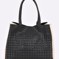 Two Tone Textured Large Tote Bag - Black/Cream or Taupe/Neon Pink
