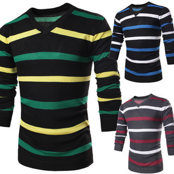 Mens Trendy Striped Sweater