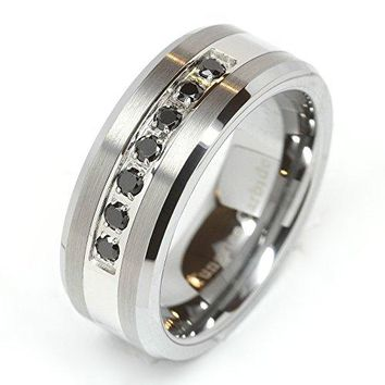 luxury best Tungsten Ring Black CZ Diamonds Wedding Band Brushed (Platinum)