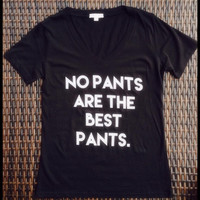 Oversized black & white no pants are the best pants vneck tee | Royce Clothing