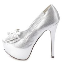 Metallic Peep Toe Bow Pumps by Charlotte Russe