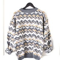 80s geometric sweater / mens slouchy wool chevron GRUNGE vintage jumper
