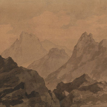 Canvas Art Prints Fabric Wall Decor Giclee Oil Painting Alexander Cozens - Mountain Tops (a Study)