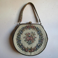 Vintage La Marquise 60s Purse Cream Floral Tapestry Top Handle Silver Frame Couture 1960s Flower Handbag