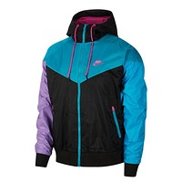 Nike Men's NSW Sportswear Hooded Windrunner Windbreaker Jacket Black Teal Purple
